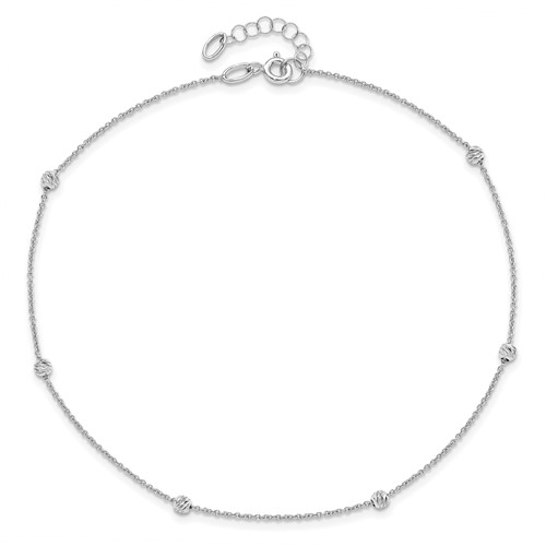 14k White Gold 10in Italian Polished Diamond-cut Ball Station Anklet