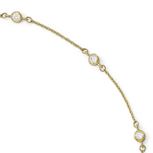 14kt Yellow Gold 9in Cubic Zirconia Station Anklet