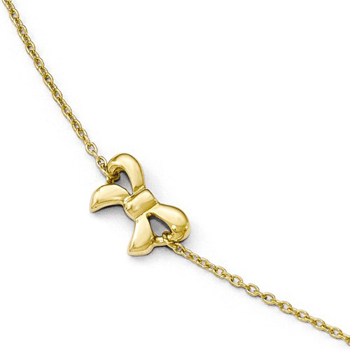 14kt Yellow Gold 9in Italian Bow Anklet