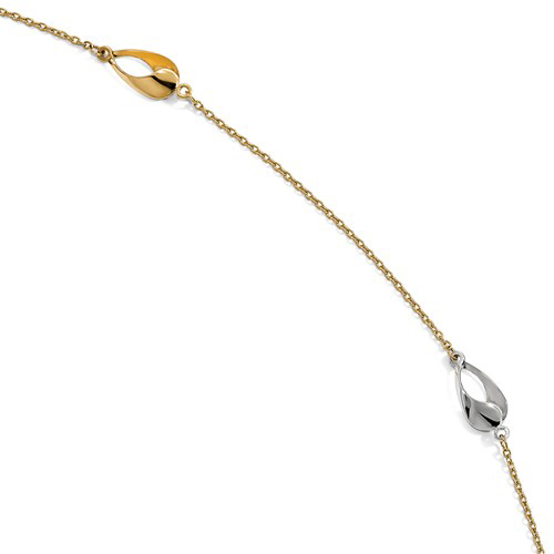 14k Two-tone Gold 9in Polished Open Teardrop Station Anklet