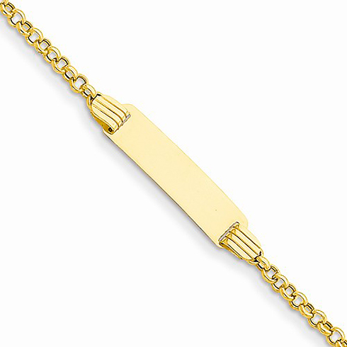 14kt Yellow Gold 8in Small ID Bracelet with Rolo Links