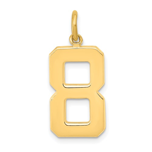 14k Yellow Gold Number 8 Pendant with Polished Finish 3/4in