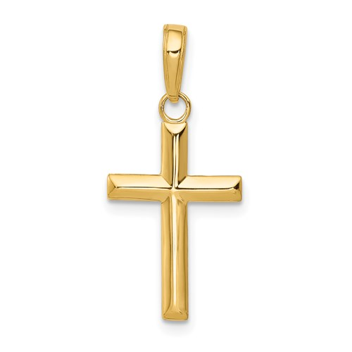 14k Yellow Gold Small Beveled Cross Pendant 3/4in