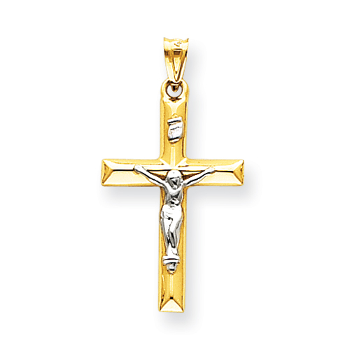 14kt Two-tone 1in INRI Hollow Crucifix Pendant