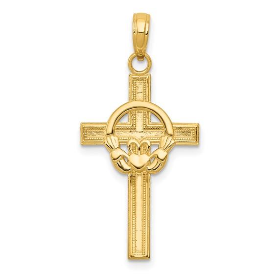 14k Yellow Gold 1in Satin & Diamond-cut Claddagh Cross Pendant