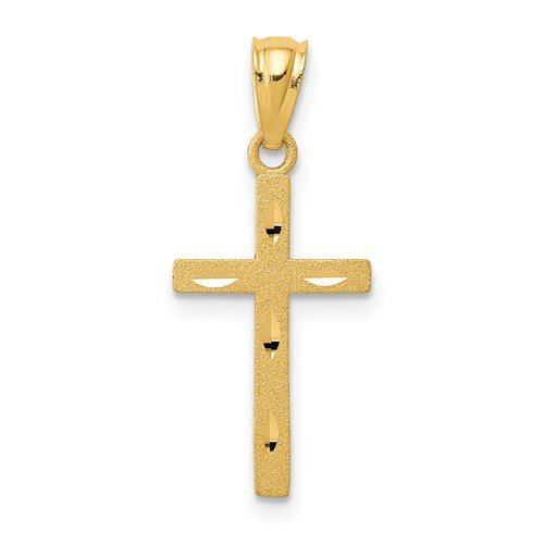 14kt 5/8in Satin & Diamond-cut Cross Pendant