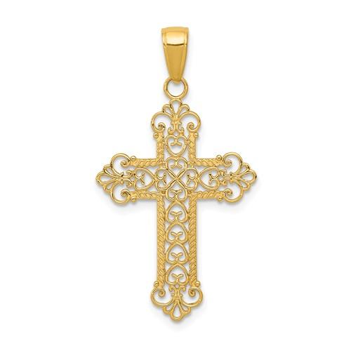14kt Yellow Gold 1in Fancy Fleur de lis Cross