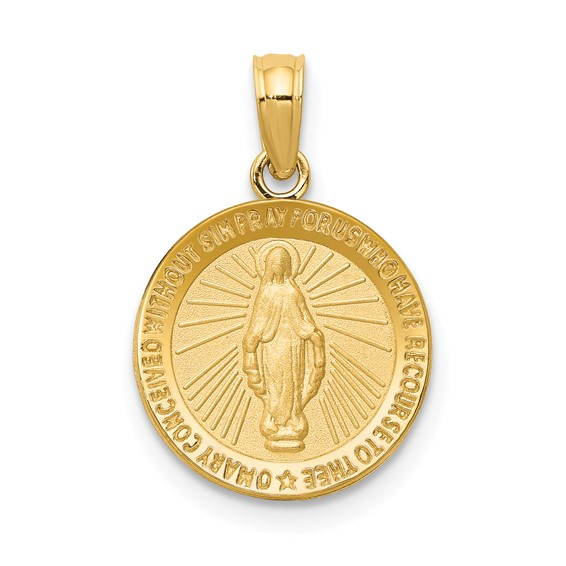 14kt Yellow Gold 1/2in Round Miraculous Medal Charm