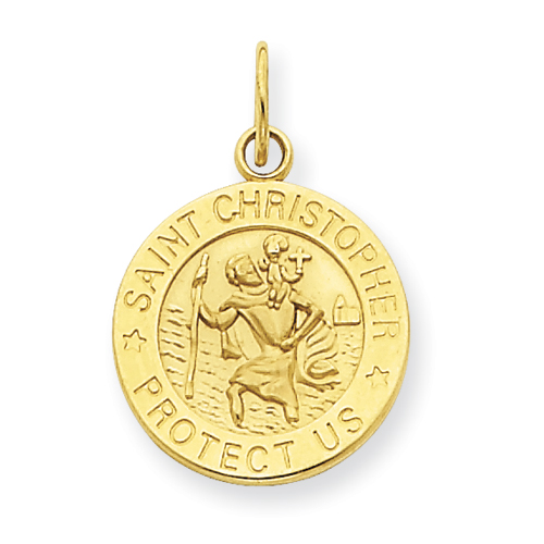 14kt Yellow Gold 9/16in Saint Christopher Medal Charm