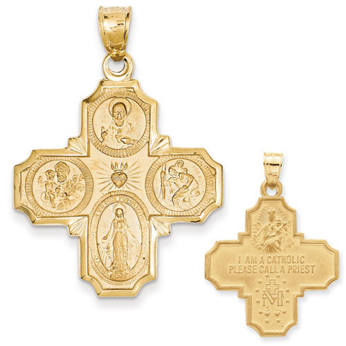 14kt Yellow Gold 1 1/8in 4-Way Medal