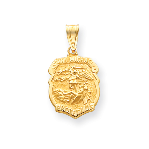 14k Yellow Gold 7/16in Saint Michael Medal Badge Pendant