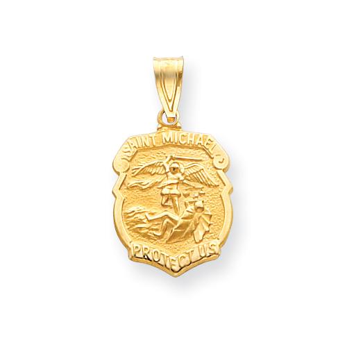 14k 7/16in Saint Michael Medal Badge Pendant