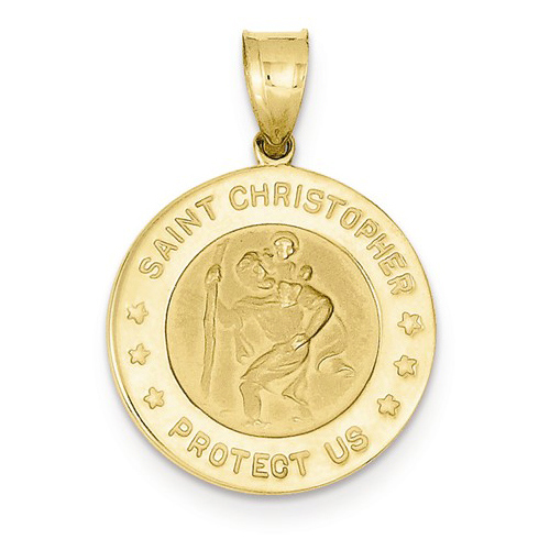 14kt Yellow Gold 3/4in Engravable St Christopher Medal
