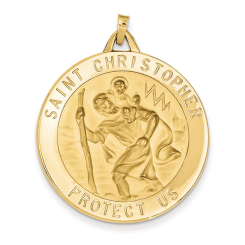 14kt Yellow Gold 1 1/4in Saint Christopher Medal