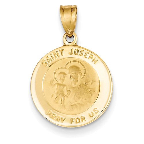 14kt Yellow Gold 5/8in Round St. Joseph Medal