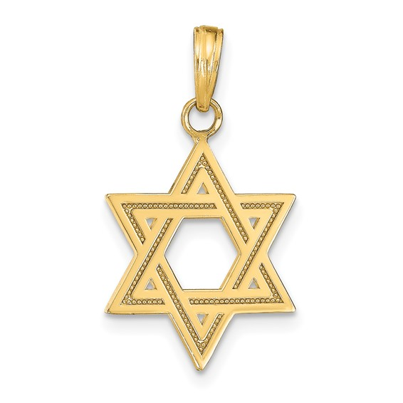 14k Yellow Gold 11/16in Satin Star of David Charm