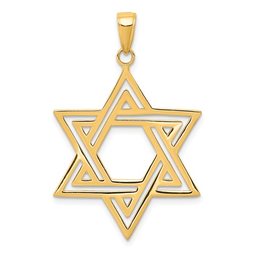 14kt Yellow Gold 1in Star of David Pendant with Channels
