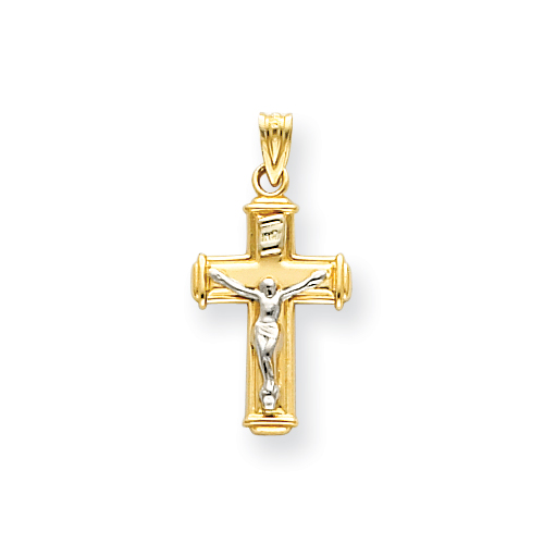 14kt Two-tone 11/16in INRI Crucifix Pendant
