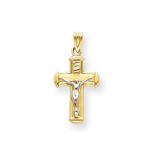 14kt Two-tone 11/16in INRI Crucifix Pendant