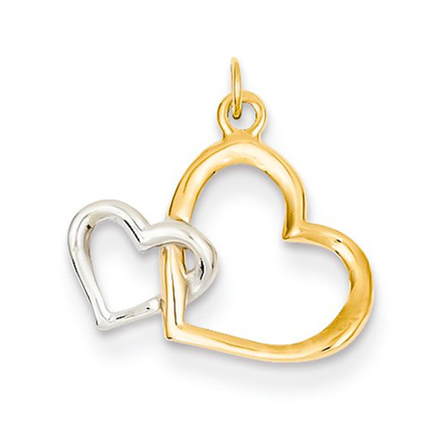 14kt Two-tone Gold 1/2in Double Heart Charm