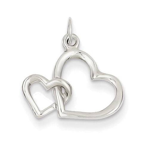 14kt White Gold 1/2in Double Heart Charm