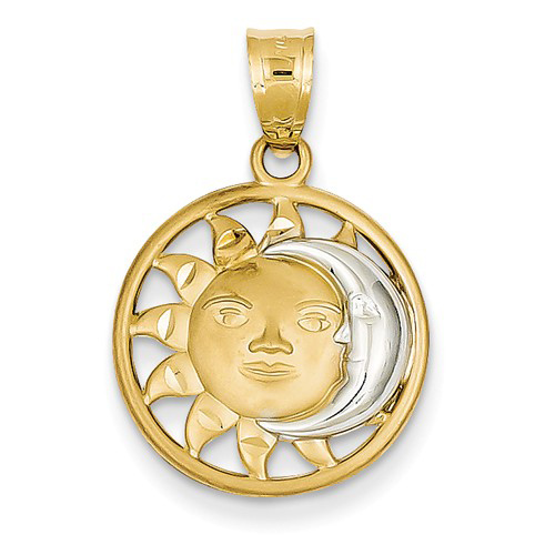 14kt Yellow Gold Rhodium 5/8in Sun and Moon Pendant