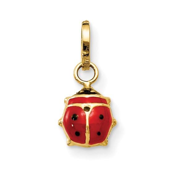 14kt Yellow Gold 1/4in Enameled Ladybug Charm