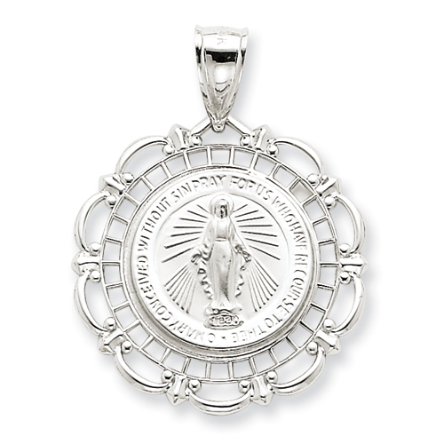 14kt White Gold 1in Very Fancy Miraculous Medal