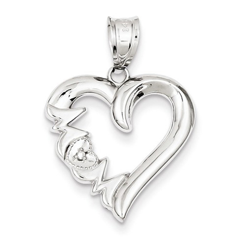 14kt White Gold 3/4in Polished Mom Heart Pendant