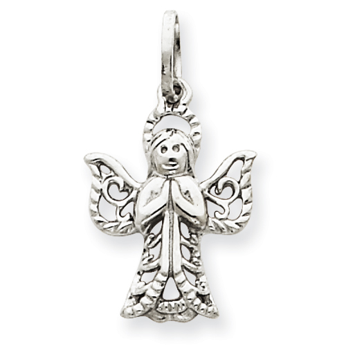 14kt White Gold 5/8in Praying Angel Charm