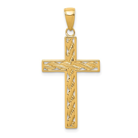 14k Yellow Gold Rope Cross Pendant 1in