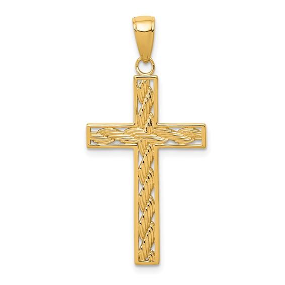 14kt 1 1/16in Rope Cross Pendant