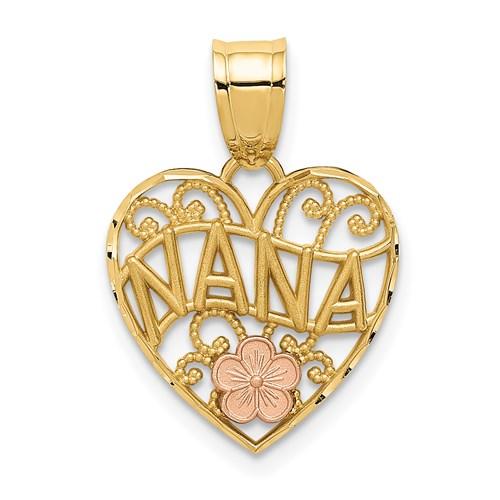 14kt Two-tone Gold 1/2in Heart Filigree Nana Charm