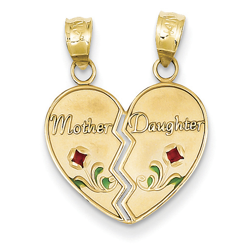 14kt Yellow Gold Enameled Mother Daughter Pendant