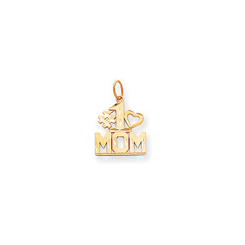 14kt Yellow Gold 5/8in #1 Mom Charm