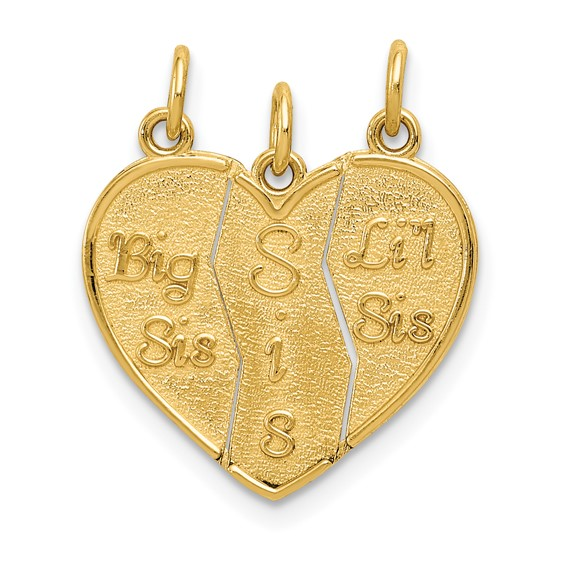 14kt Yellow Gold Break Apart 3-piece Big Sis Sis and Lil Sis Charm