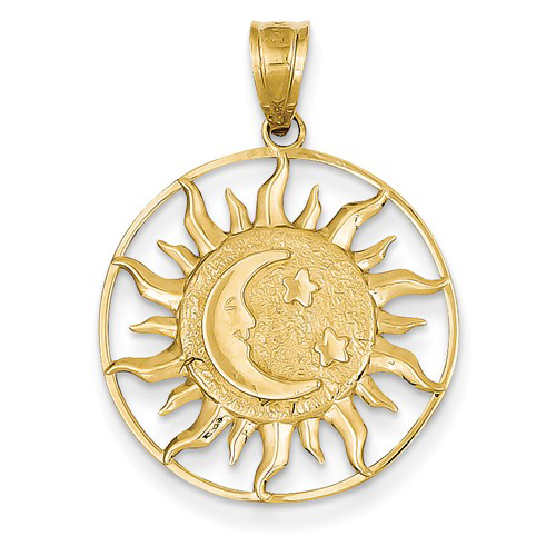 14kt Yellow Gold 7/8in Sun with Moon and Stars Pendant