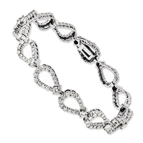 14k White Gold 4.6 ct Moissanite Tear Drop Link Tennis Bracelet