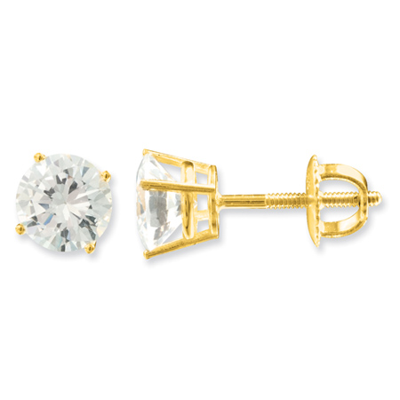 14kt Yellow Gold 1 CT TW Moissanite Stud Earrings