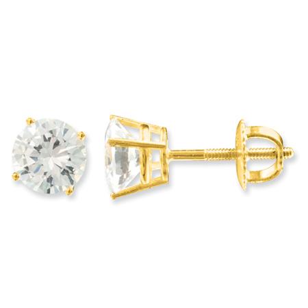 14kt Yellow Gold 5 CT TW Forever Briilliant Moissanite Stud Earrings