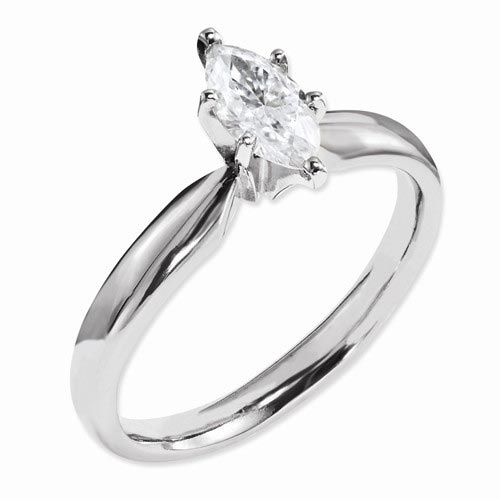 14k Yellow Gold 1.0 ct True Light Moissanite Marquise Solitaire Ring