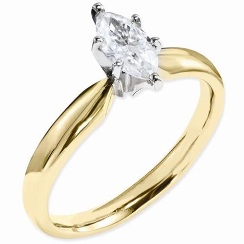 14k Yellow Gold 1.8 ct True Light Moissanite Marquise Solitaire Ring