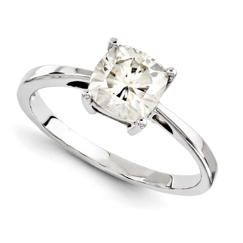 14kt White Gold 2 1/2 CT TW Cushion Moissanite 4-Prong Ring