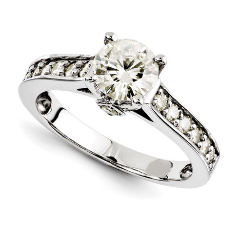 14kt White Gold 1 ct Forever Brilliant Moissanite Ring