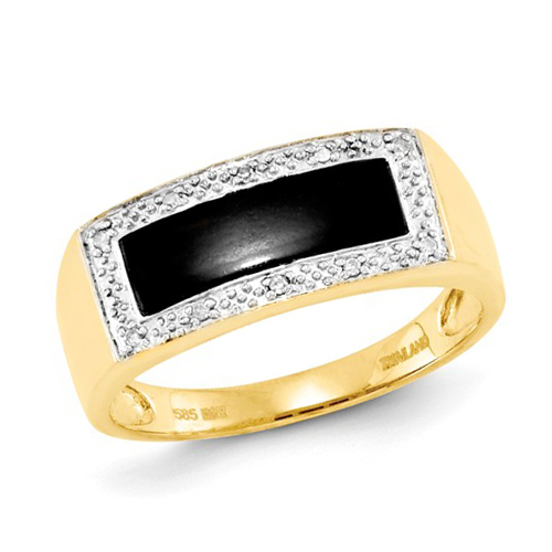 14kt Yellow Gold Men's Rectangular Onyx Ring with Diamonds Size 10