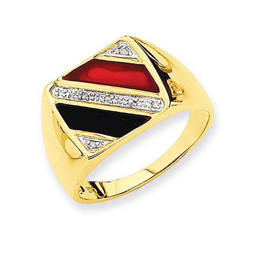 14kt Yellow Gold Men's Onyx Red Agate Ring with Diamonds