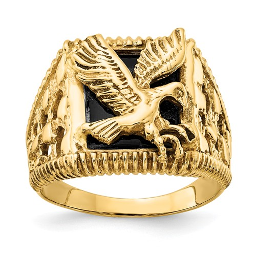 14k Yellow Gold Onyx Eagle Ring with Open Back