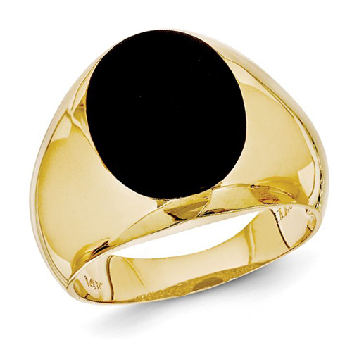 14kt Yellow Gold Men's Oval Onyx Ring Size 11