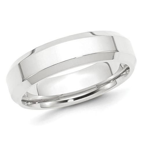 Platinum 6mm Beveled Edge Comfort Fit Wedding Band