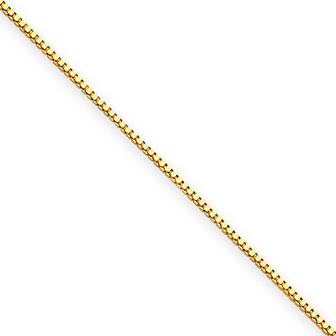 14kt Yellow Gold 18in Box Link Chain .5mm
